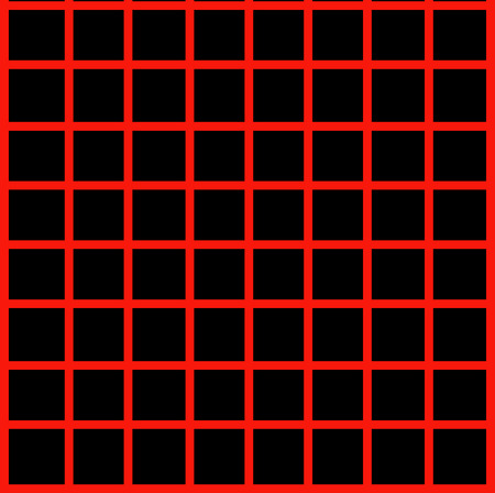 Optical illusion with maroon lines on black  Vettoriali