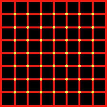 Optical illusion with yellow dots Vector
