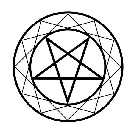 五芒星-宗教的なシンボルの悪魔  イラスト・ベクター素材