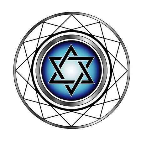 shalom: Star of David- Jewish religious symbol  Illustration