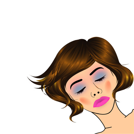 beautiful lady with golden highlights on hair  Ilustração
