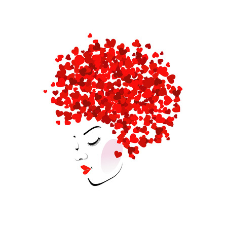Hairstyle with hearts Vector