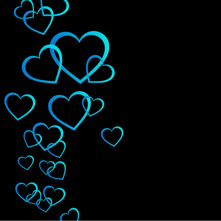Floating Blue hearts background Ilustração