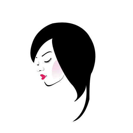 bob: Girl with beautiful hair and red lipstick