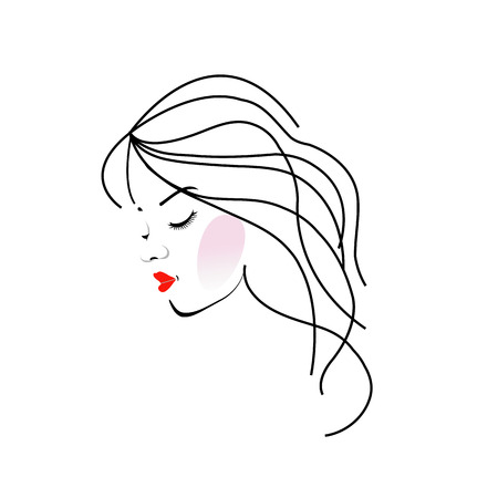 pelo ondulado: Ilustraci�n de una ni�a con el pelo ondulado