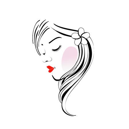 물결 모양의 머리와 꽃과 함께 소녀의 그림 일러스트