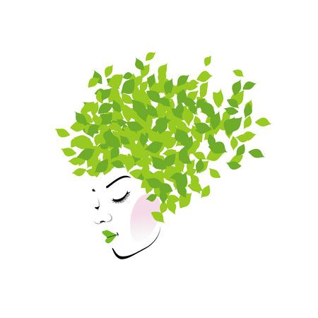Haar met groene bladeren