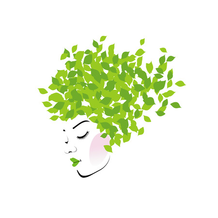 hair curl: Hair with green leaves