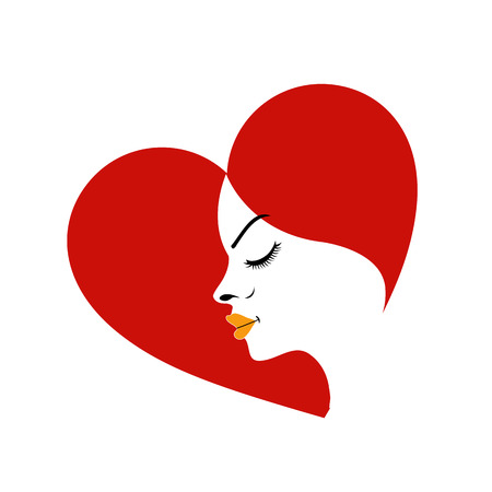Logo for fertility clinic- face in a red heart showing fertility  Vector