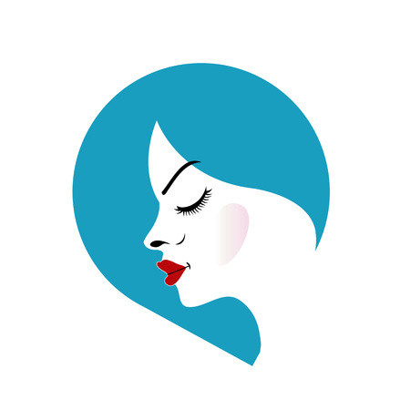 A lady s face in a blue placement- beauty logo