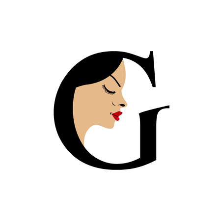 Face in alphabet G for skin tanning or parlor  Vector