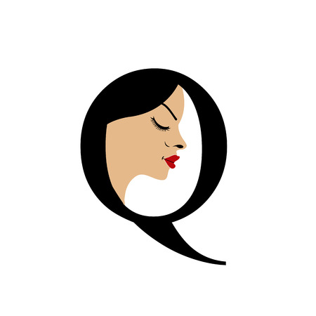 Face in alphabet Q for skin tanning or parlor