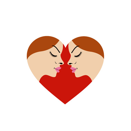 Illustration for fertility clinic- faces in red heart showing fertility  Vector