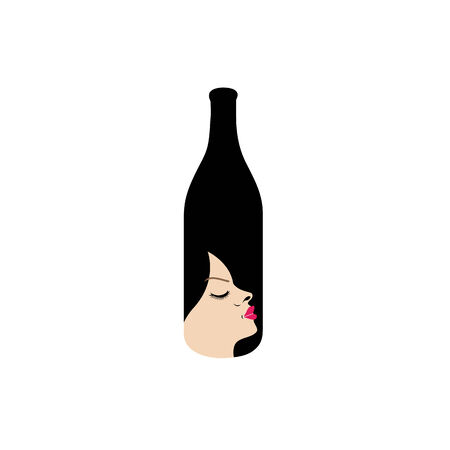 Pretty lady in a bottle- beverage business illustration  Vector