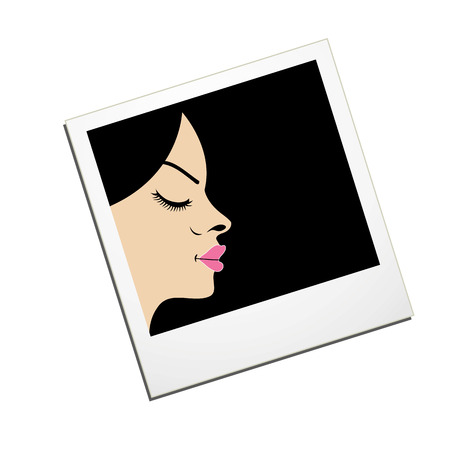 Lady in a Polaroid- logo for fashion photography Vector