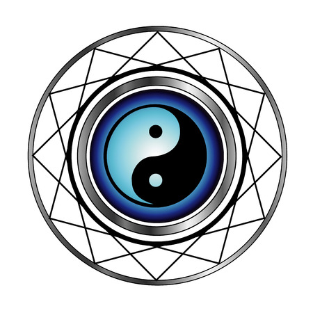 Ying Yang symbol with blue glow