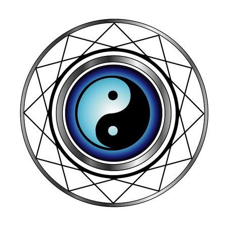 ying yan:  Ying Yang symbol with blue glow