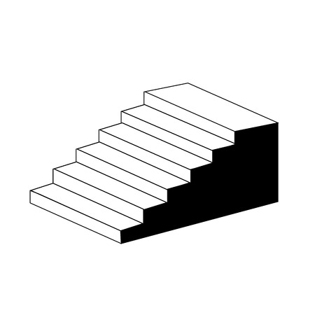Isometric object stair- architectural 3d object-axonometric view