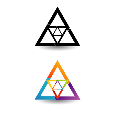 triplet: Abstract triangular colorful logo or design element