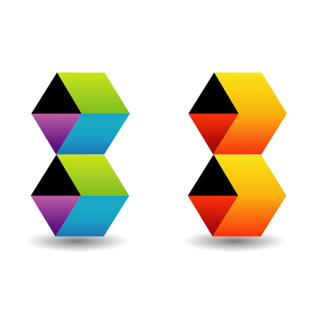 personality development: icon with colorful cubes and shadow