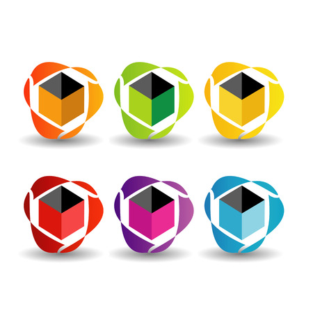 Set of business icon in different colors with shadow Vector