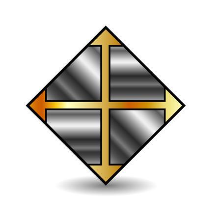 floor tile business icon in gold and silver Ilustração
