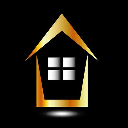 Abstract huis voor onroerend goed in goud
