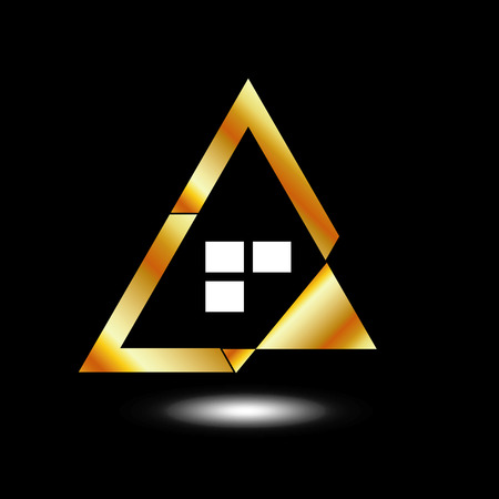 dwell: Abstract house - icon for real estate business in gold