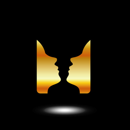 Two Faces Side By Side Icon With Illusion Of A Vase Two Faces