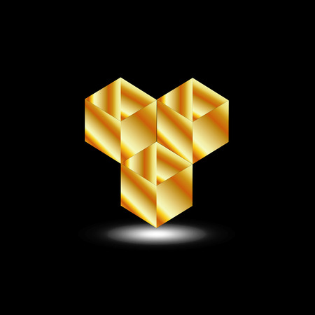 Golden boxes - icon for architect or construction business Vector