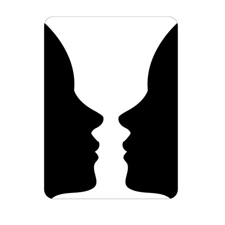 Faces or vase - illusion of two faces appearing like a vase 矢量图像