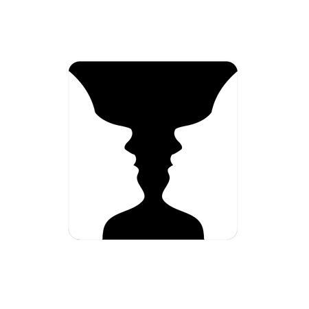 2 つの錯覚顔、花瓶のように表示される面または花瓶-  イラスト・ベクター素材