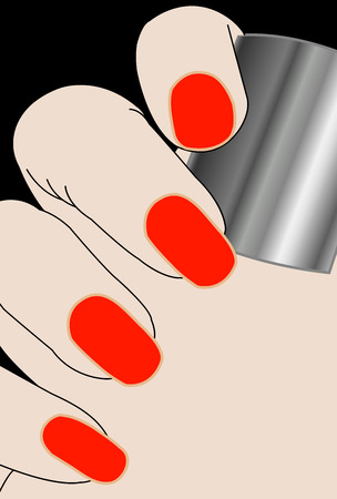cuticle: Female fingers with red varnish