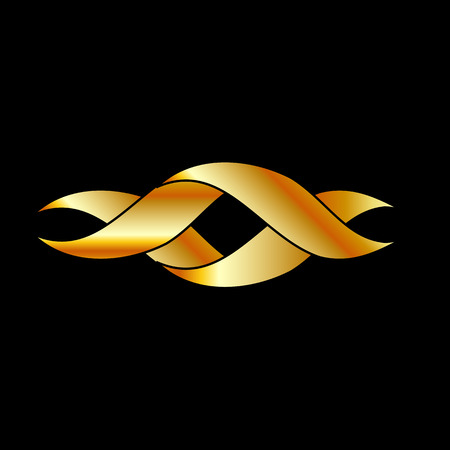 Twisted ribbon- abstract logo or design element in gold Vector