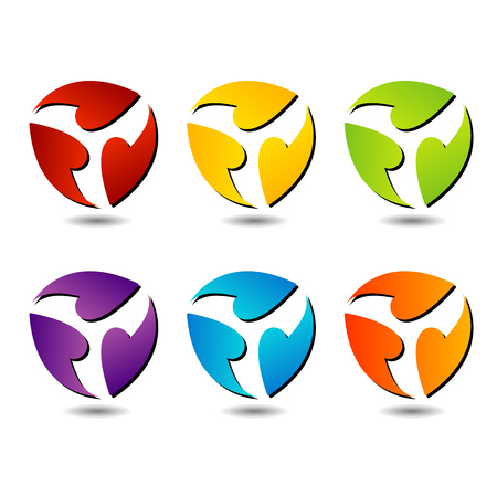 triplet: Colorful three sides logos for business