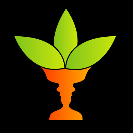 Abstract flower vase with illusion of two faces like a vase Vector