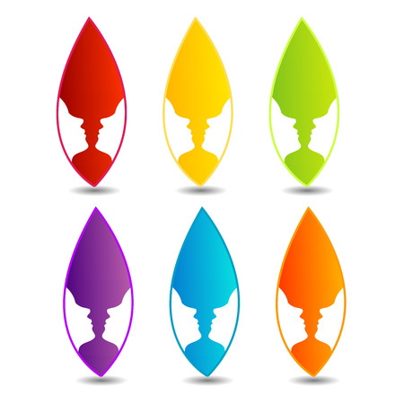 Two faces in a leaf- colorful feminine  Vector