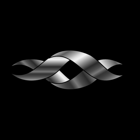Twisted ribbon- abstract logo or design element in silver Vector