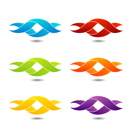 Twisted ribbon- abstract shape in different colors Vector