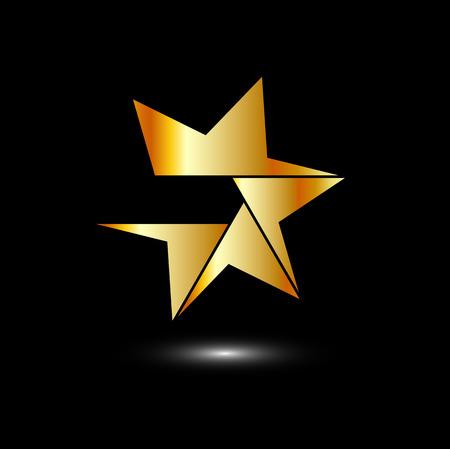 六つの側面に金色の星ロゴ  イラスト・ベクター素材