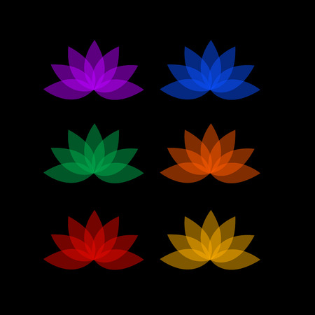 Lotus in different colors- logo for business Vector