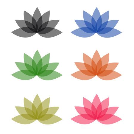 ロータスのビジネスのための異なる色ロゴ  イラスト・ベクター素材