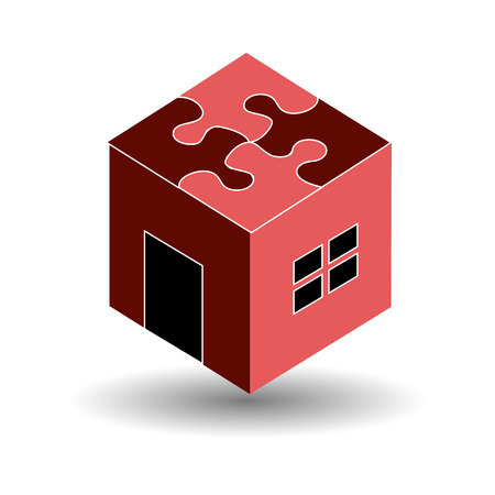 Logo for real estate market with a puzzle roof Vector