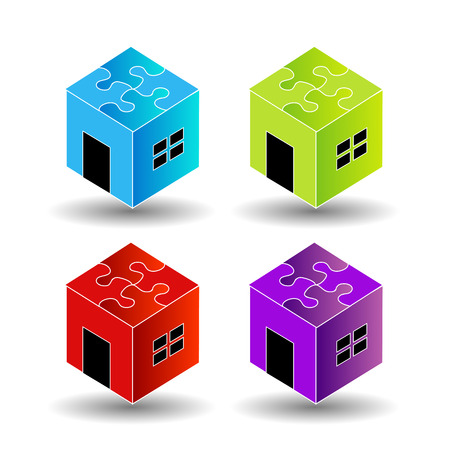 Colorful Logo for real estate market with a puzzle roof Vector