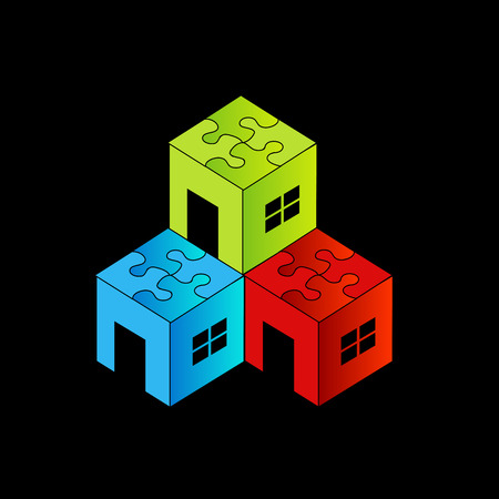Colorful Logo for real estate market with puzzle roof Vector