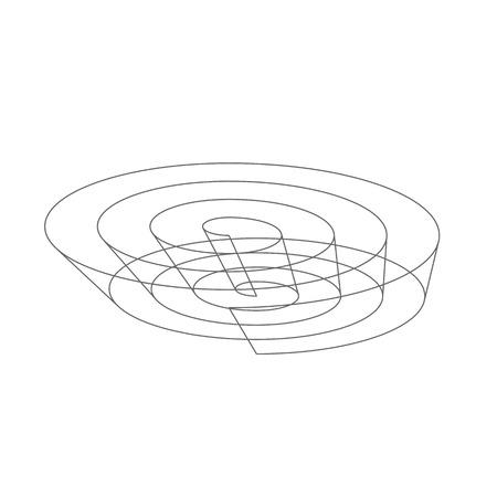 ovoid: Wireframe spiral object Illustration