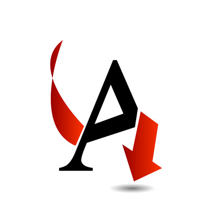 arched: Abstract letter A with red arrow