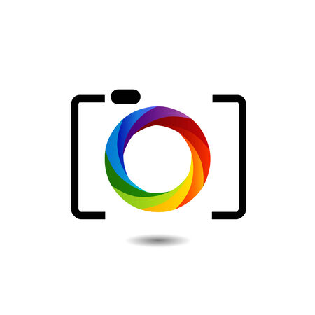 rainbow colored photography shutter  向量圖像