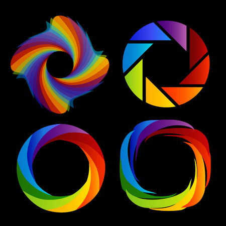 A set of rainbow colored photography shutter