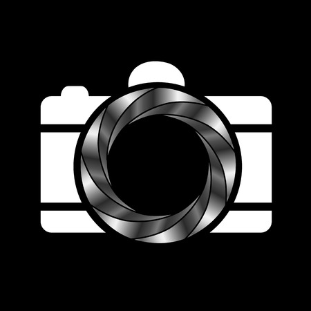 Camera with silver aperture- photography logo Vector